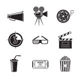 Cinema, movie icons set with -  projector, film Royalty Free Stock Images