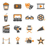 Cinema and Movie Icons Set. Cinema and Movie two color Icons Set with popcorn, award, clapperboard, tickets and 3D glasses. Isolated vector illustration Royalty Free Stock Photos