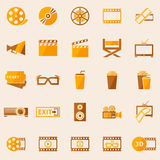 Cinema or movie icons set. Vector symbol collection in retro colors Royalty Free Stock Photos