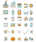 Cinema and movie industry line icons set flat Stock Photography