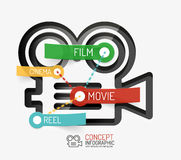 Cinema and movie infographic concept, line style Royalty Free Stock Photography
