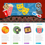 Cinema and Movie infographics. Cinema auditorium infographics with flat icons seats, audience and theater masks on screen, vector illustration Stock Photos