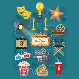 Cinema and Movie Infographics. With Flat Icons Set popcorn, award, 3D glasses, tickets. Isolated vector illustration Stock Photos