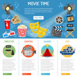 Cinema and Movie infographics. Cinema and Movie time infographics with flat icons theater masks, popcorn, tickets, spotlights, award, vector illustration Stock Photos