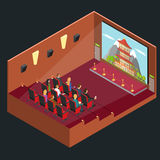 Cinema Movie Interior Auditorium Isometric View. Vector. Cinema Movie Interior Auditorium Isometric View with Public and Film. Vector illustration stock illustration