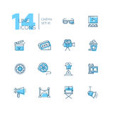 Cinema and movie line icons set. CInema and movie - set of modern vector line design icons with accent color. 3d glasses, film, pop corn, camera, award, ticket Royalty Free Stock Image