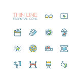 Cinema and movie line icons set. Cinema and movie - set of modern vector line design icons. 3d glasses, film, pop corn, camera, award, ticket, movie hall Royalty Free Stock Photo