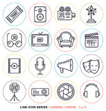 Cinema and movie line icons set. Vector collection of entertainment business symbols & objects Royalty Free Stock Photo