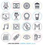 Cinema and movie line icons set. Vector collection of entertainment business symbols & objects Stock Photos