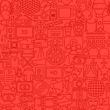 Cinema Movie Line Seamless Pattern. Vector Illustration of Outline Tileable Background Royalty Free Stock Photo