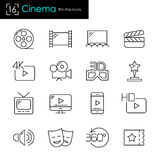 Cinema and movie making business related vector icon set. Cinema and movie making business related vector icons. Thin line stroke style Stock Images