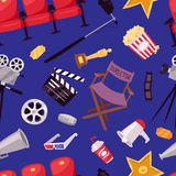 Cinema movie making TV show equipment tools symbols icons vector set illustration. Isolated entertainment design camera sign. Director cinematography hollywood Royalty Free Stock Photography