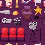 Cinema movie making TV show equipment tools symbols icons vector set illustration seamless pattern background. Cinema movie making TV show equipment tools Stock Photography