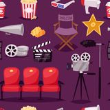 Cinema movie making TV show equipment tools symbols icons vector set seamless pattern background . Cinema movie making TV show equipment tools symbols icons Stock Photo