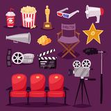 Cinema movie making TV show equipment tools symbols icons vector set illustration. Stock Images