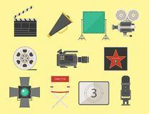 Cinema movie making tv show tools equipment symbols icons vector cinematography illustration. Royalty Free Stock Photo