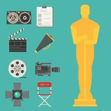 Cinema movie making tv show tools equipment symbols icons vector cinematography illustration. Cinema movie making tv show tools equipment symbols icons vector Royalty Free Stock Images