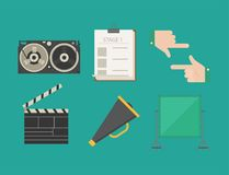 Cinema movie making tv show tools equipment symbols icons vector cinematography illustration. Stock Photo