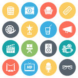 Cinema and Movie Minimal Icon Set Stock Photography