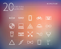 Cinema and movie outline icons set Stock Photo