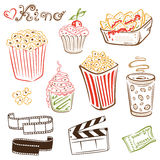 Cinema, movie, popcorn. Colorful cinema, movie and tv vector set Stock Images