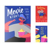 Cinema Movie Poster, Banner, Placard Template. Film Reel, Tickets, Pop Corn and Flat Character. Vector illustration royalty free illustration