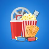 Cinema movie poster design template with film reel and strip, ticket, popcorn, soda takeaway, 3d glasses. Flat style vector illustration stock illustration