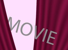 Cinema movie premiere, design. Background with red curtains. vector illustration