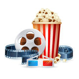 Cinema and movie realistic objects  on white. Film reel, clapper, popcorn, 3D glasses detailed vector illustration Stock Photo