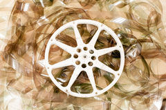 Cinema movie reel and 35 mm film background Stock Photography