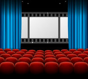 Cinema Movie Retro Concept with Seats Rows, Film Stripe and Curtains. Vector Royalty Free Stock Photos