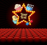 Cinema Movie Retro Concept with Seats Rows. Vector Royalty Free Stock Photography