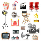 Cinema Movie Retro Icons Collection. Retro cinema film making and movies festivals  accessories icons set with camera loudspeaker clapper  vector illustration Stock Photos