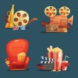 Cinema Movie Retro Symbols Cartoon Set Stock Photos