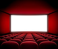 Cinema movie screen. In red hall Royalty Free Stock Photography