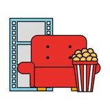 Cinema movie sofa popcorn and reel strip. Vector illustration royalty free illustration