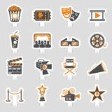 Cinema and Movie sticker Icons Set Stock Image