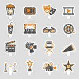 Cinema and Movie sticker Icons Set. Cinema and Movie two color sticker Icons Set with popcorn, award, clapperboard, tickets and 3D glasses. Vector illustration Stock Image