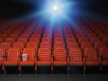 Cinema and movie theater concept background. Empty rows of red s Stock Photos