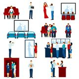 Cinema movie theater flat icons set Stock Photos