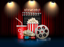 Cinema movie theater object. On curtain background Stock Images