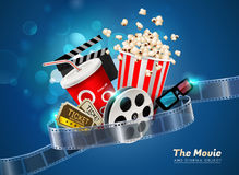 Cinema movie theater object on sparkling light background Stock Image