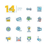 Cinema and movie thick line icons set. CInema and movie - set of modern vector thick line design icons with accent color. 3d glasses, film, pop corn, camera Stock Photos