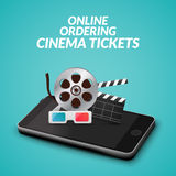 Cinema movie ticket online order concept. Mobile cinema smartphone app  Stock Photography