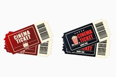 Cinema or movie tickets. Set of retro ticket to the cinema theatre. Vector Stock Image