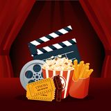 Cinema, movie time. Cinema movie theater object on curtain background. Cinema, movie time, concept. Cinema movie theater object on curtain background. Show with Stock Photography