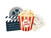 Cinema, movie time, concept. Movie theater object. Poster, banner. Cinema, movie time, concept. Movie theater object. Show with popcorn, filmstrip, tickets Stock Image