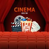 Cinema, movie time, concept. Show with seats, popcorn, filmstrip, tickets. Cinema, movie time, concept. Cinema movie theater object on curtain background. Show Stock Image