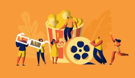 Cinema Movie Time with Popcorn and Drink Weekend. Young People in 3d Glasses. Woman Carry Ticket. Oscar Award Cinematography royalty free illustration