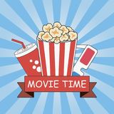 Cinema. Movie time. Poster design with popcorn, 3d glasses, soda cup and ribbon. Banner template with blue sunray background. Vector illustration Royalty Free Stock Photography